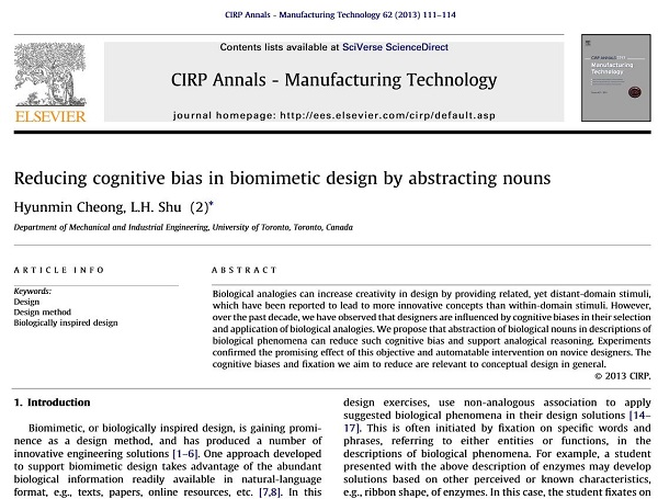 Reducing Cognitive Bias in Biomimetic Design by Abstracting Nouns