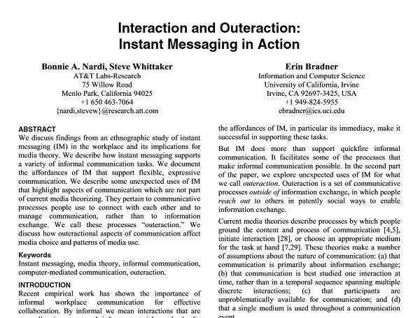 Interaction and Outeraction: Instant Messaging in Action