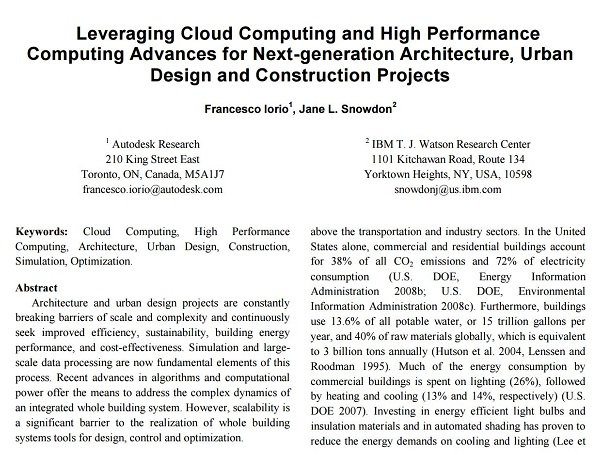 Leveraging Cloud Computing and High Performance Computing Advances for Next-generation Architecture, Urban Design and Construction Projects