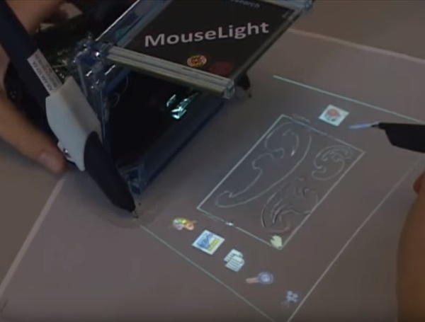 MouseLight: Bimanual interactions on digital paper using a pen and a spatially-aware mobile projector